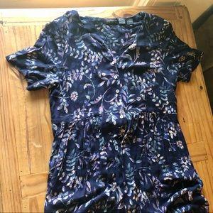 Liz Claiborne Floral Button Front Navy Maxi Dress